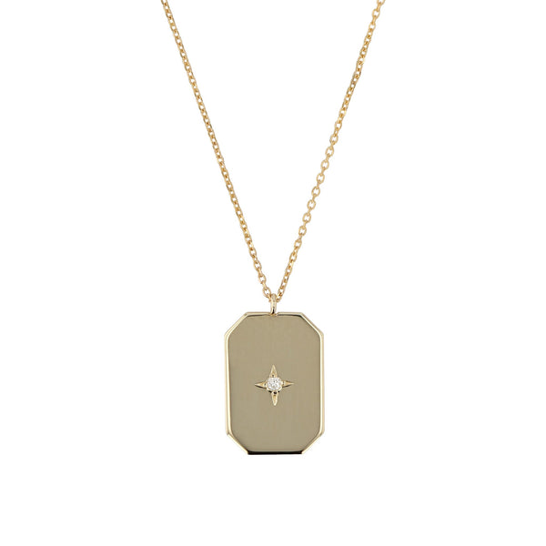 Insignia Diamond Pendant Necklace Yellow Gold | SARAH & SEBASTIAN