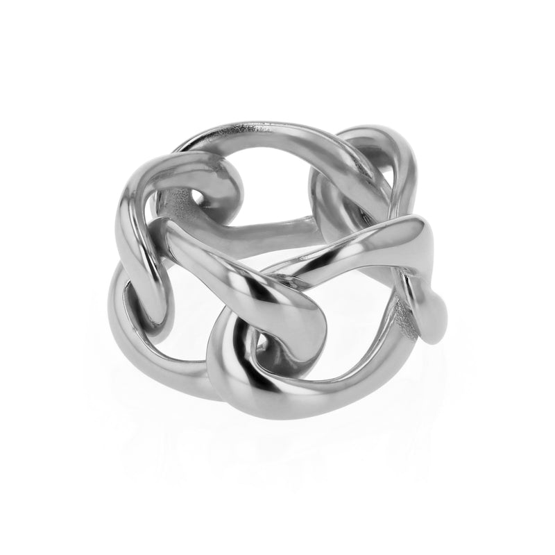 Statement Jelly Chain Ring Silver | Sarah & Sebastian