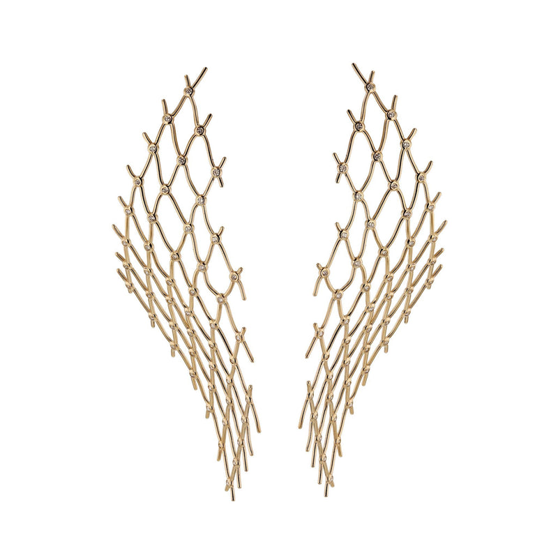 Large Diamond Net Earrings Yellow Gold | Sarah & Sebastian