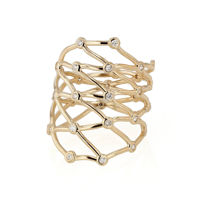 Large Net Diamond Ring Yellow Gold | Sarah & Sebastian