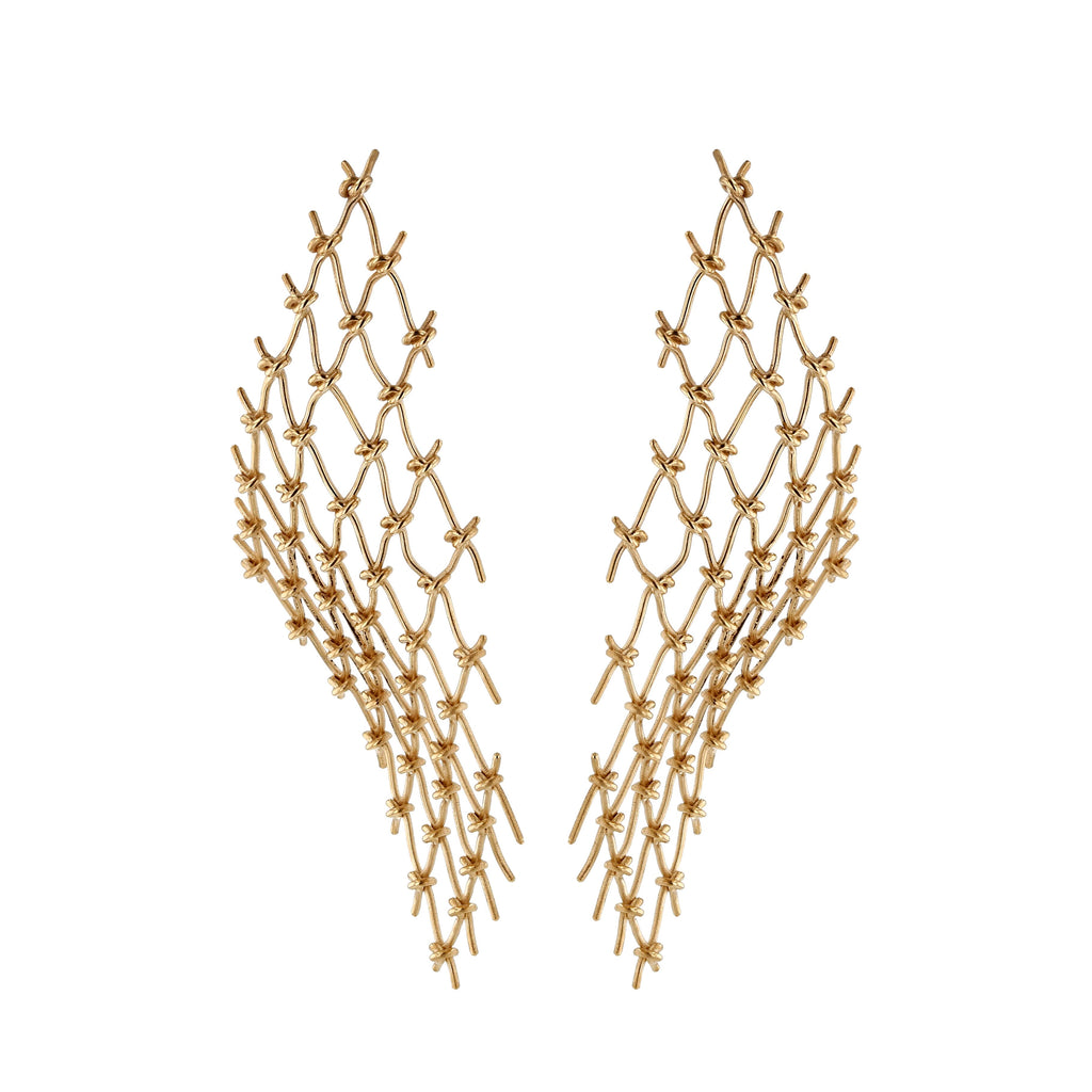 Large Net Earrings | Vermeil
