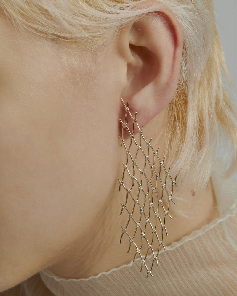 Large Diamond Net Earrings Gold | Sarah & Sebastian onBody
