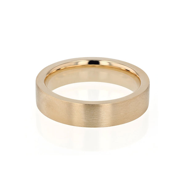 Level Bold II Brushed Mens Wedding Band Gold | Sarah & Sebastian