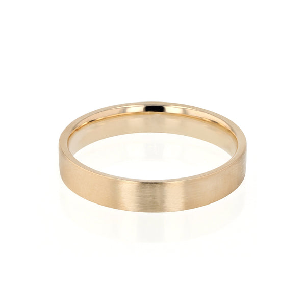 Level I Brushed Mens Wedding Band Yellow Gold | Sarah & Sebastian