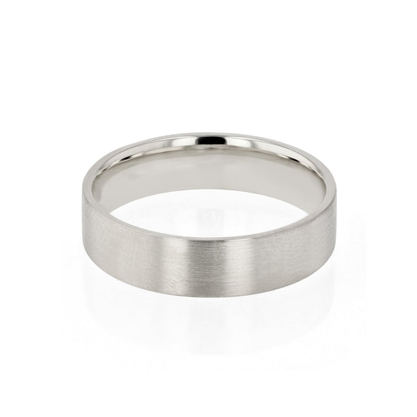 Level II Brushed Mens Wedding Band White Gold | Sarah & Sebastian