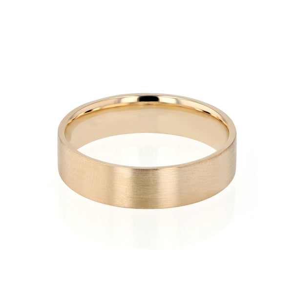 Level II Brushed Mens Wedding Band Yellow Gold | Sarah & Sebastian