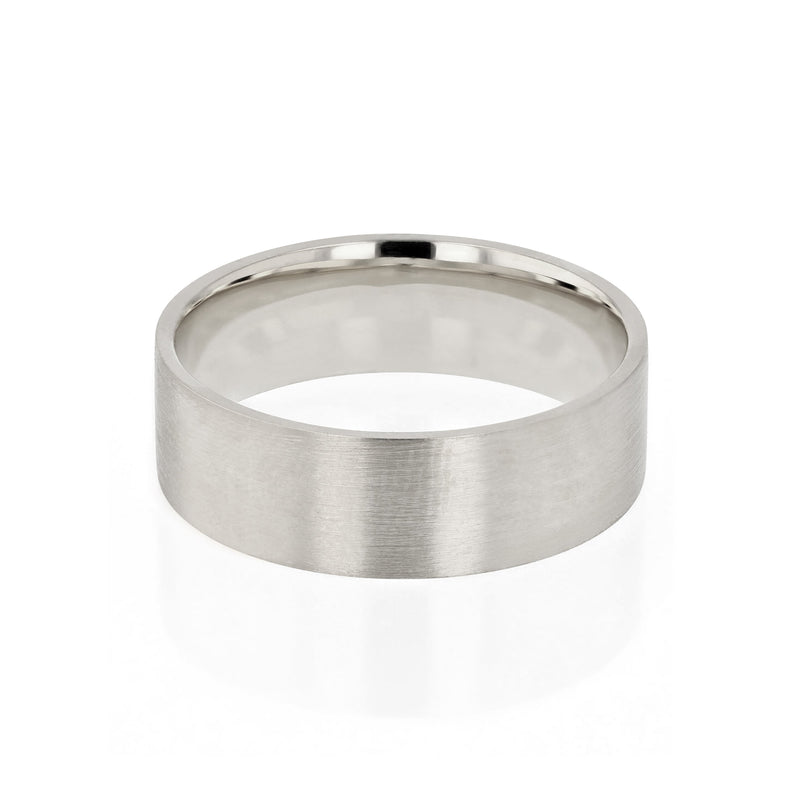 Level III Brushed Mens Wedding Band White Gold | Sarah & Sebastian