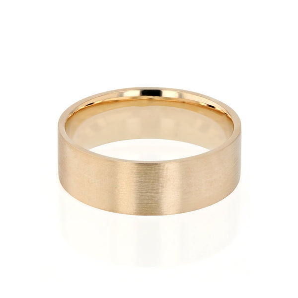 Level III Brushed Mens Wedding Band Yellow Gold | Sarah & Sebastian