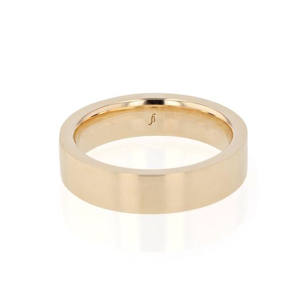 Level Bold II Polished Mens Wedding Band Gold | Sarah & Sebastian