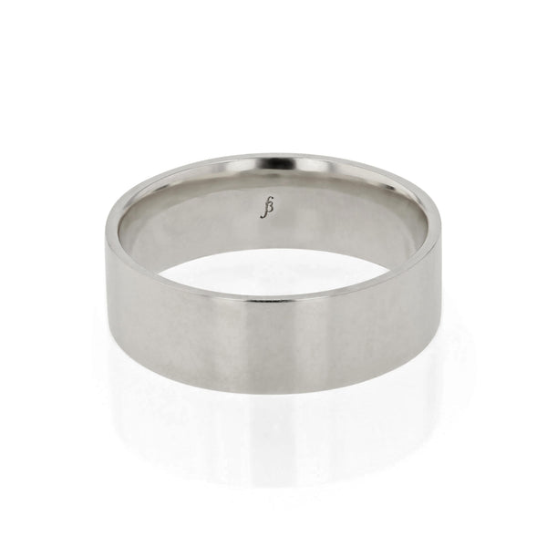 Level III Polished Mens Wedding Band White Gold | Sarah & Sebastian