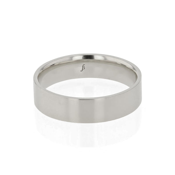 Level II Polished Mens Wedding Band White Gold | Sarah & Sebastian