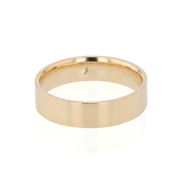 Level II Polished Mens Wedding Band Yellow Gold | Sarah & Sebastian