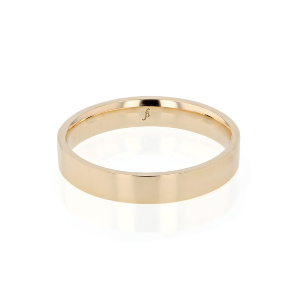 Level I Polished Mens Wedding Band Yellow Gold | Sarah & Sebastian