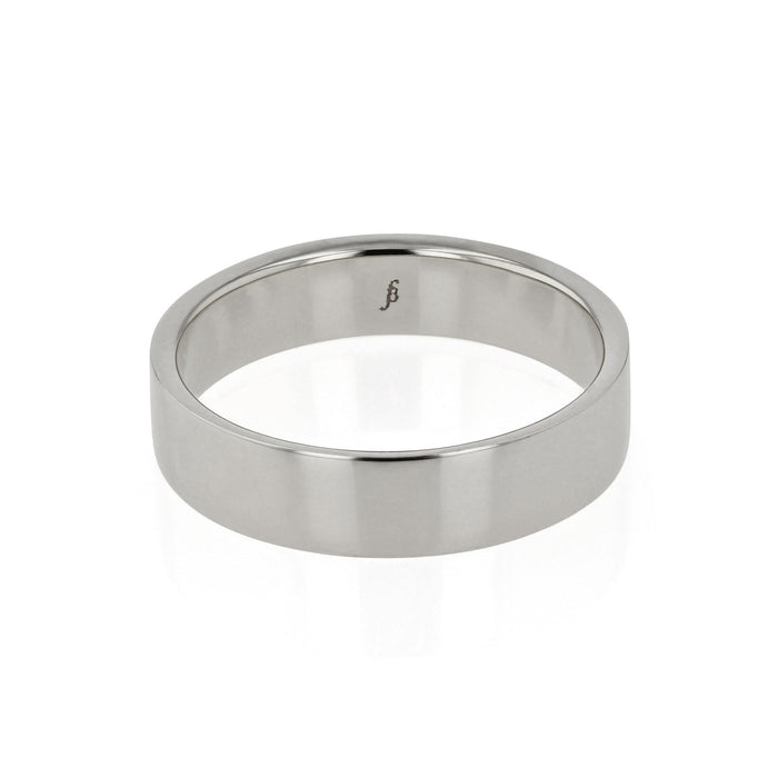 Mens Wedding Band Chamfered White Gold | SARAH & SEBASTIAN