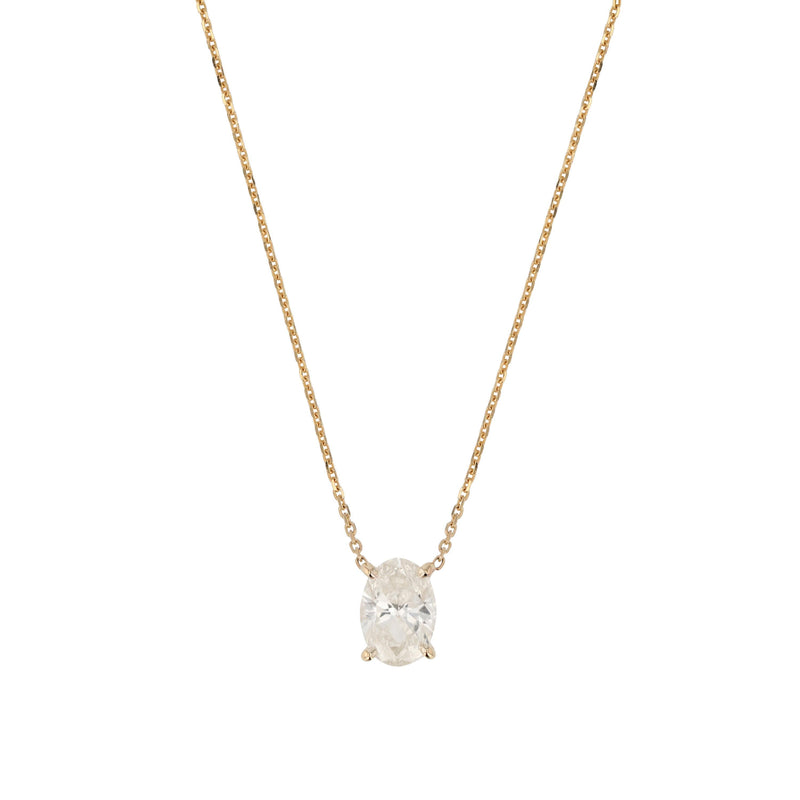 Oval Diamond Necklace Yellow Gold | Sarah & Sebastian