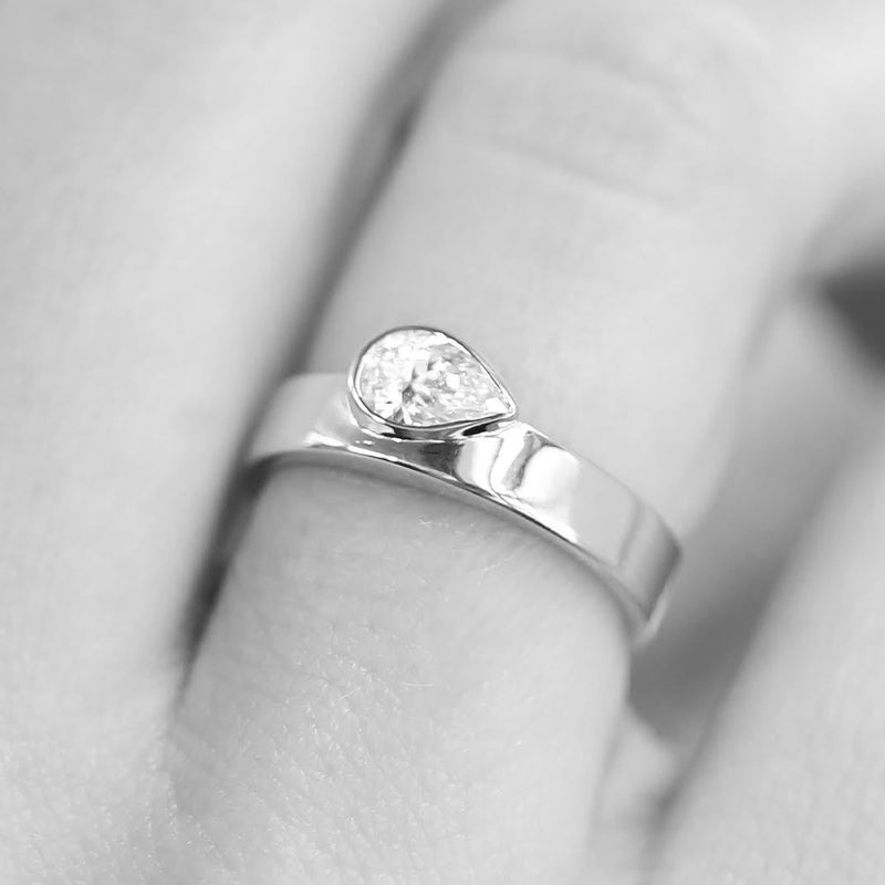 Pear Bezel Band White Gold | Sarah & Sebastian hoverimage