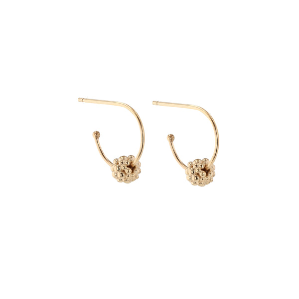 Fine Papilla Bead Hoop Earrings Gold | Sarah & Sebastian