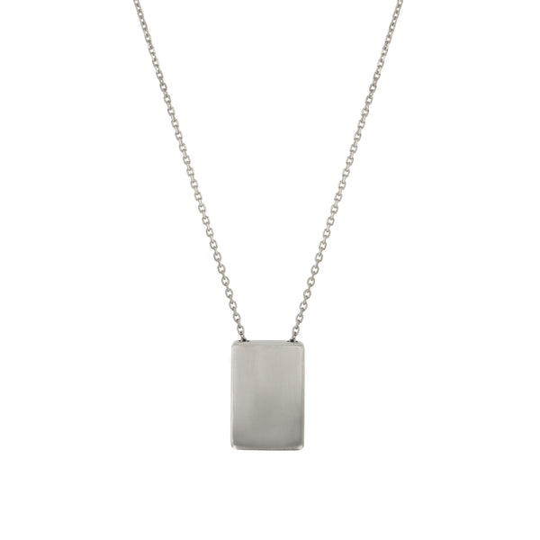 Rectangle Locket Necklace White Gold | Sarah & Sebastian