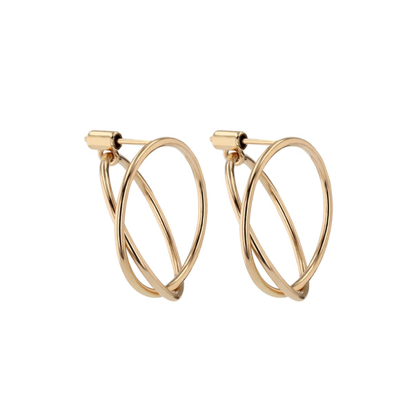 Interlocking Ringed Earrings Gold | Sarah & Sebastian