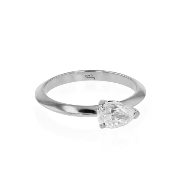 Side Pear Ring White Gold | Sarah & Sebastian