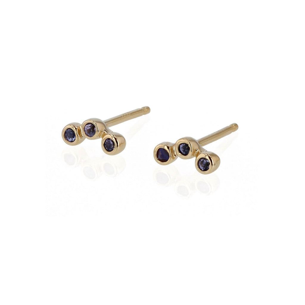 Stone Bezel Trio Earrings
