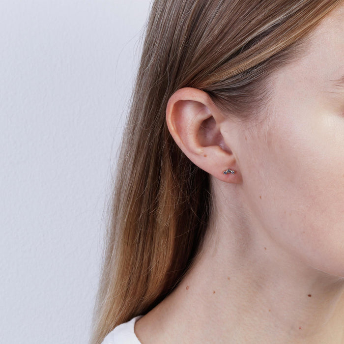 Indigo Stone Bezel Trio Earrings Silver | SARAH & SEBASTIAN hoverimage