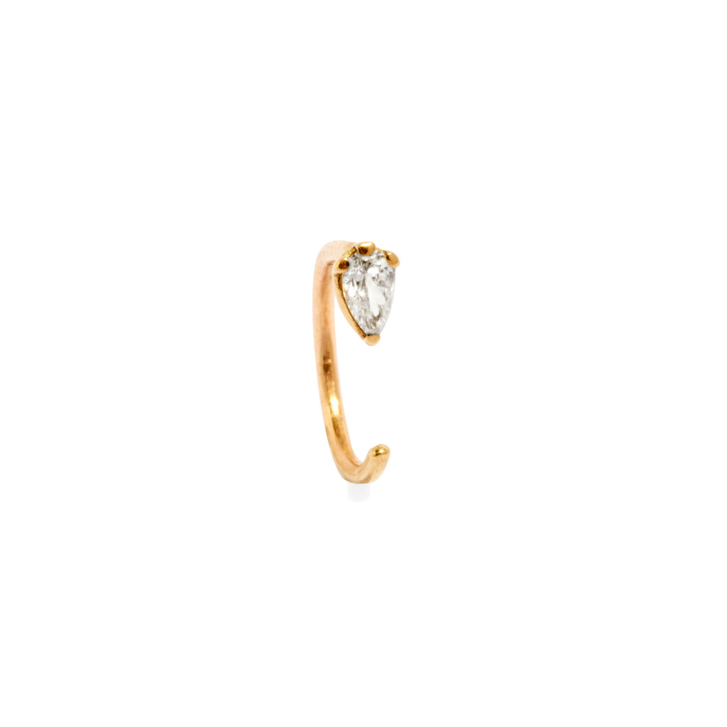 Pear Ear Hook (Gold and White Diamond)