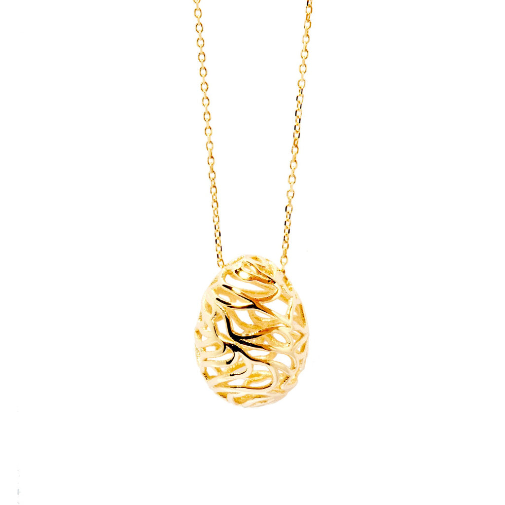 Scribble Egg Necklace (Gold)
