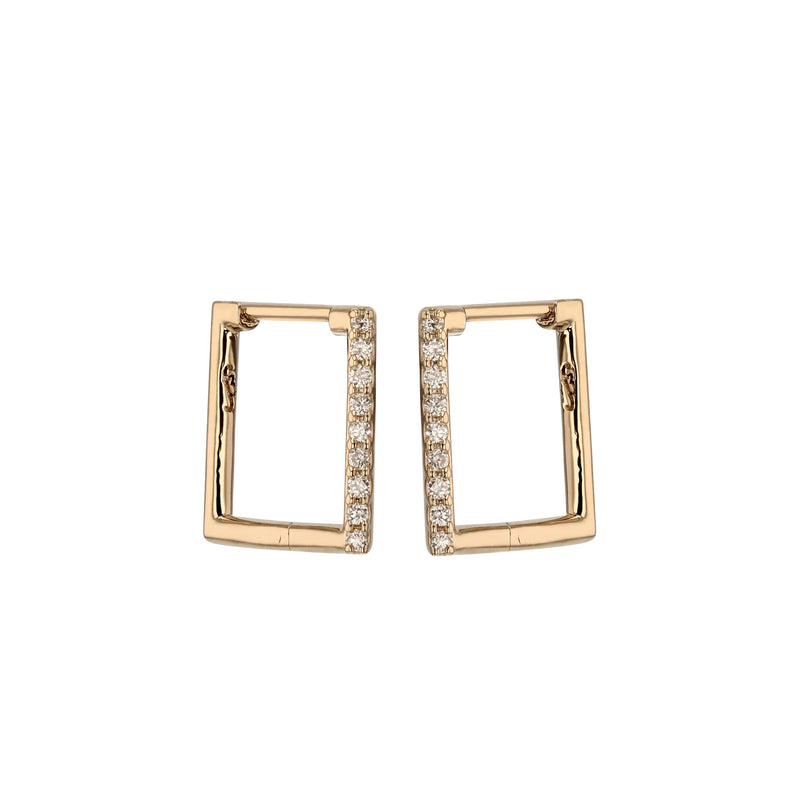 Square Diamond Hoop Earrings Gold | Sarah & Sebastian