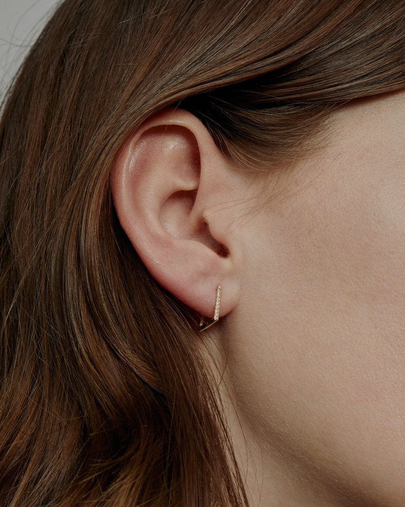 Square Diamond Hoop Earrings Gold | Sarah & Sebastian onBody