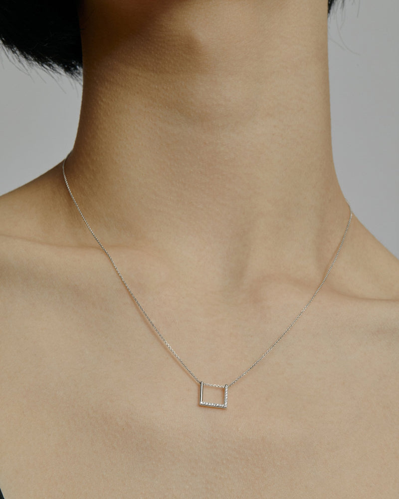 Square Thread Necklace White Gold | Sarah & Sebastian onBody