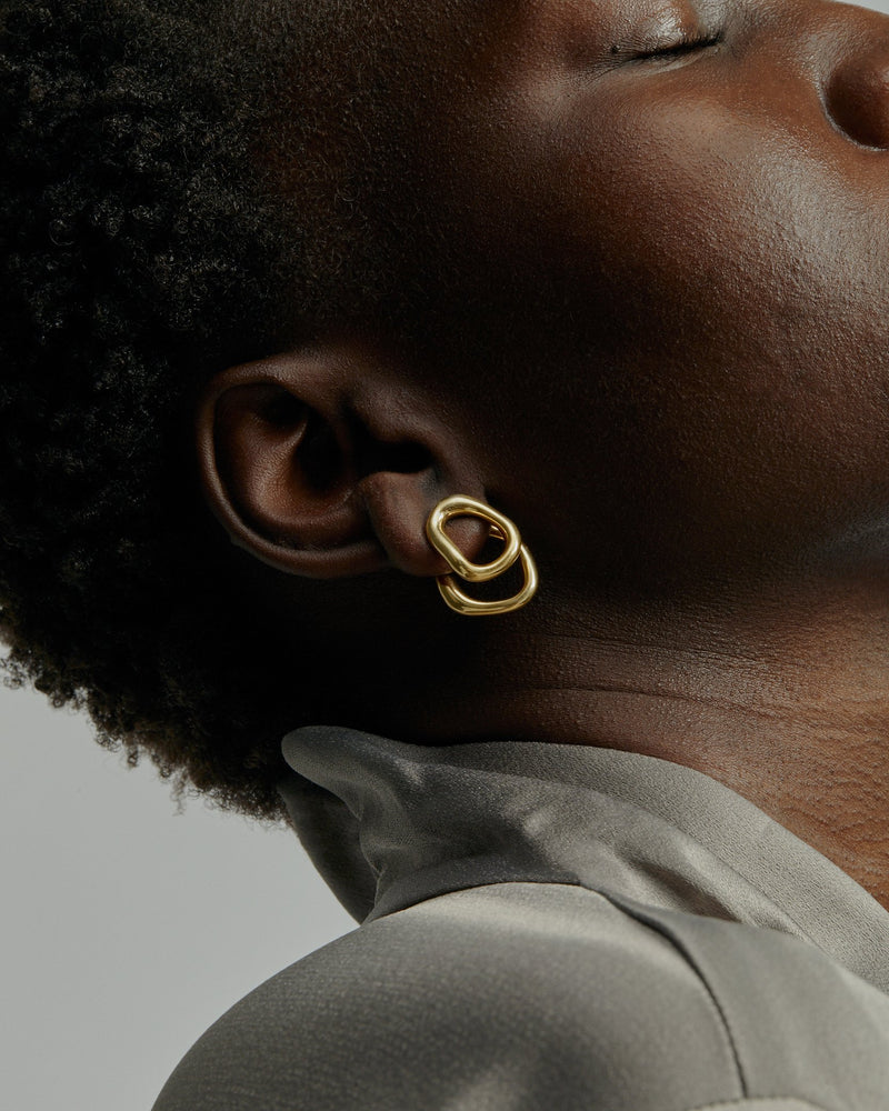 Statement Jelly Double Earrings Gold | Sarah & Sebastian onBody