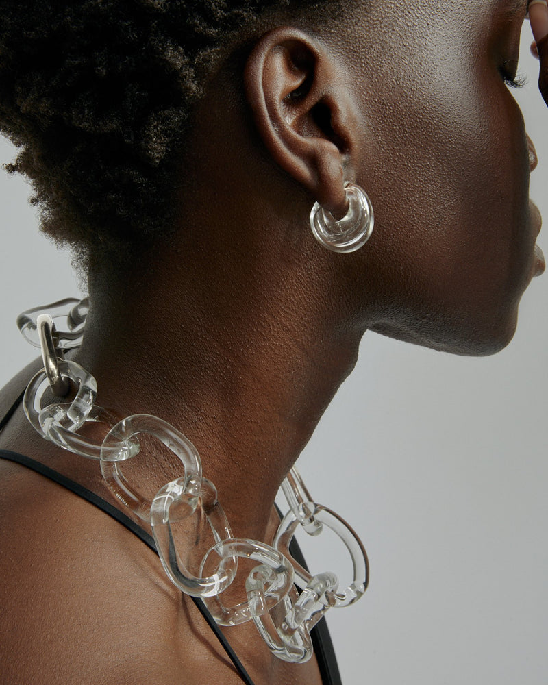 Statement Jelly Glass Chain Silver | Sarah & Sebastian onBody