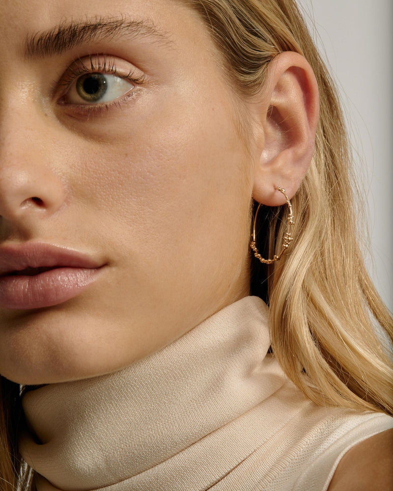 Statement Papilla Hoop Earrings Gold | Sarah & Sebastian onBody