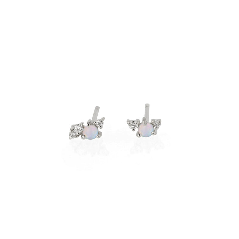 Tiny Chroma Opal Earrings White Gold | Sarah & Sebastian