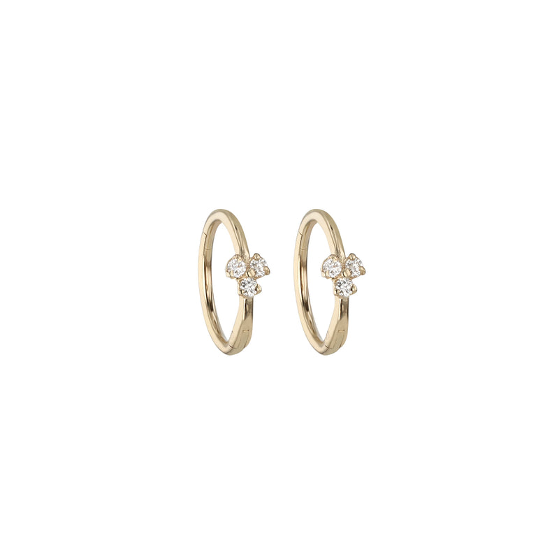 Trio Diamond Hoop Gold | Sarah & Sebastian