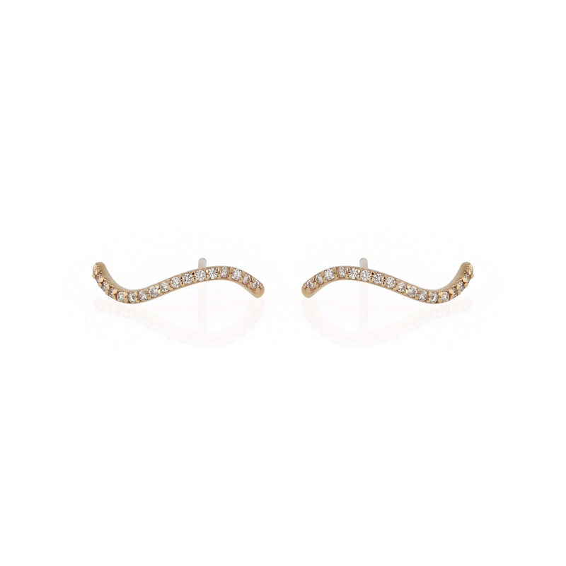 Fine Wave Diamond Earrings Gold | Sarah & Sebastian