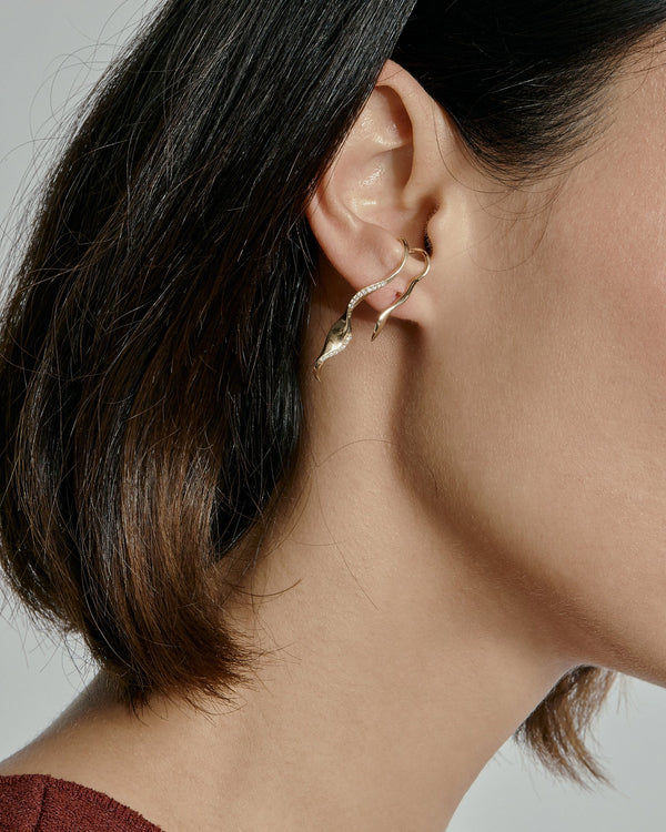 Winedark Diamond Earrings Gold | Sarah & Sebastian onBody