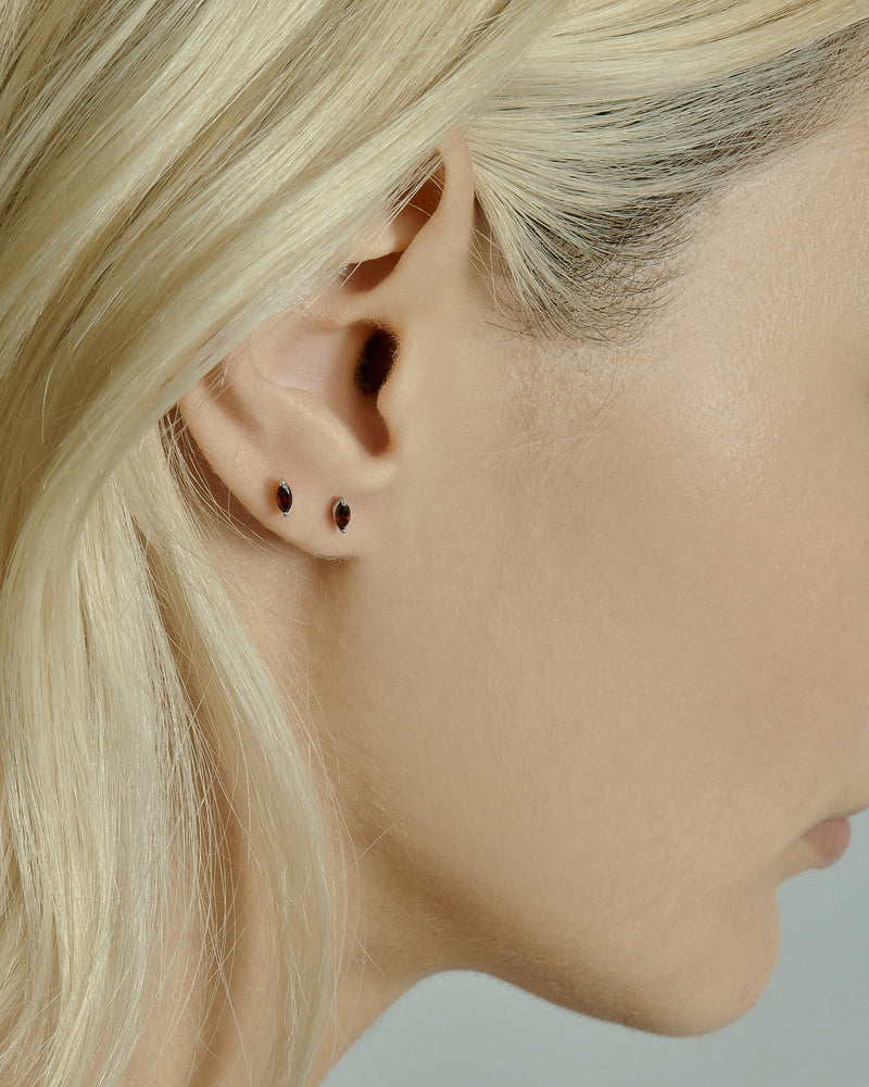 Winedark Stud Earrings Silver | Sarah & Sebastian onBody