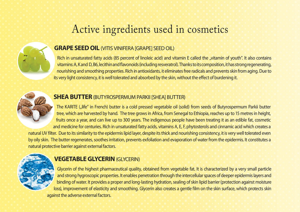 Grape Seed Oil and Shea Butter and Vegetable Glycerin