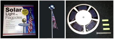 "Solar Flagpole Light 10"". Works With Our 16' & 22' RV Fiberglass Telescoping Flagpoles."