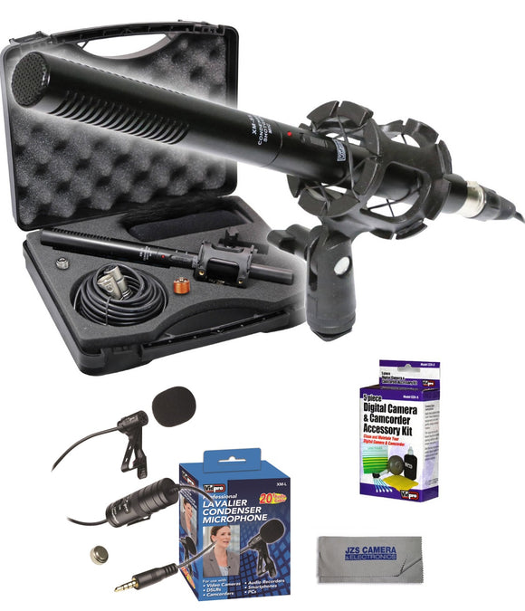 Vidpro XM-55 Shotgun Microphone Kit with XM-L Lavalier Microphone, Lens Cleaning Set, & Microfiber Cloth