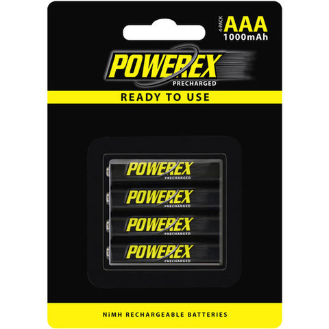 Powerex Precharged Rechargeable AAA Batteries [1000mAh] (4 Pack)