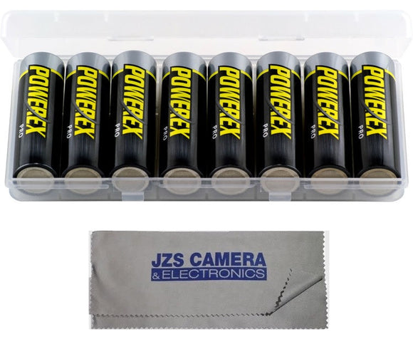 Powerex Pro Rechargeable AA NiMH Batteries [2700mAh, 1.2V] (8-Pack) & Microfiber Cloth