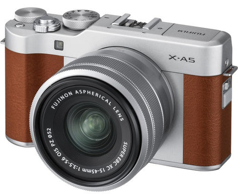 Fujifilm X-A5 Mirror-less Digital Camera with 15mm-45mm OIS PZ Lens (Brown)