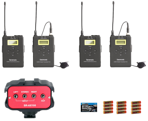 Saramonic Two SR-UwMic15 Dual Wireless 500 MHz UHF Band Lavalier Microphone Bundles, SR-AX100 Audio Mixer, 12 AA Batteries, and Cleaning Cloth