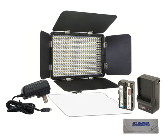 Vidpro LED-330X Variable-Color On-Camera LED Video Light Kit with Microfiber Cloth