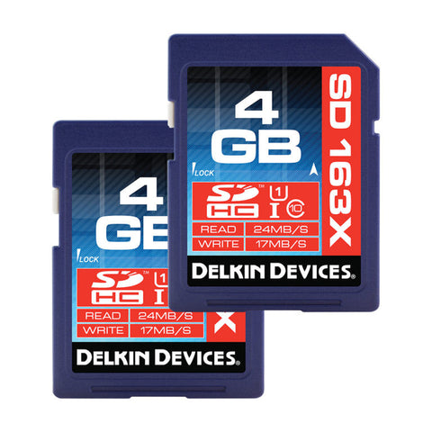 Delkin 4GB SDHC 163X Class 10 Memory Card (2 Pack)