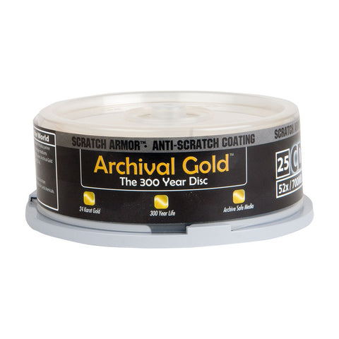 "Delkin Archival Gold CD-R ""300 Year Disc"" with Scratch Armor Surface (25pc Spindle)"