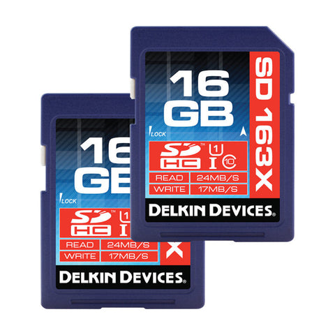 Delkin 16GB SDHC 163X Class 10 Memory Card (2 Pack)